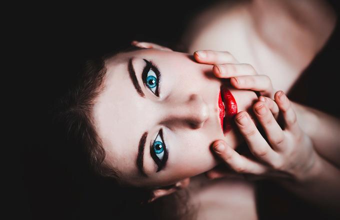 Lippenstift blaue Augen