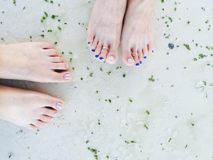 Füße Sand Nagellack
