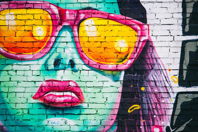graffiti Sonnenbrille Frau